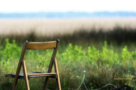 Chair on marsh
