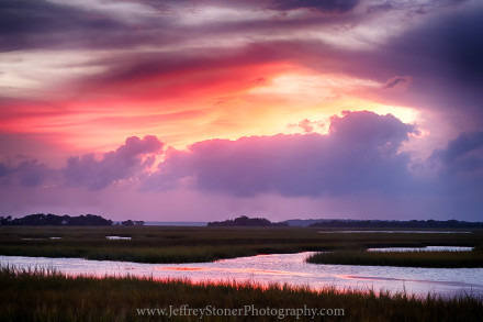 Sunset over the marsh on the southern end of Cumberland Island